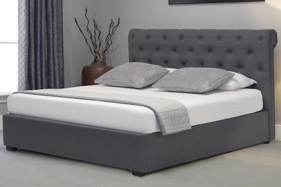 6 0 Super King Grey Fabric Ottoman Bed Frame Buttoned