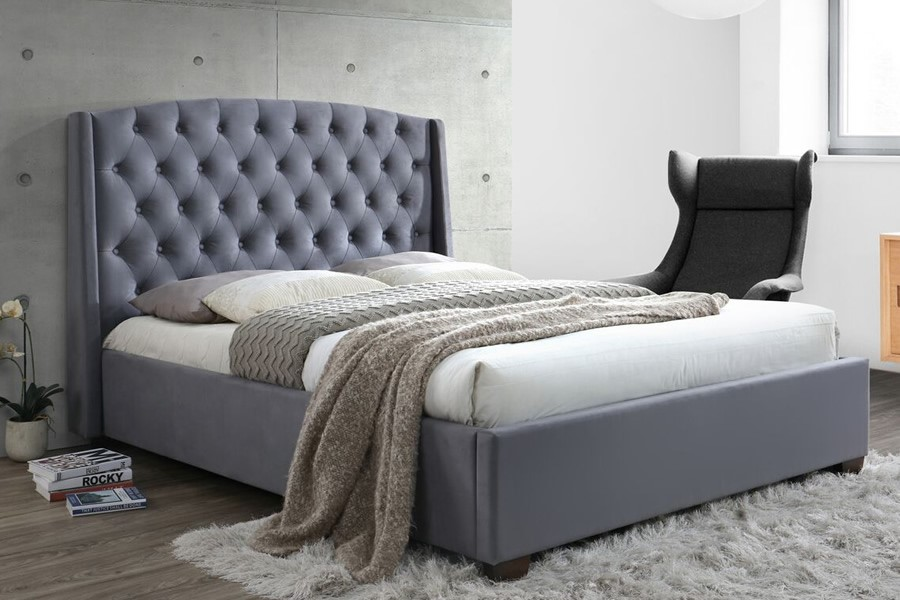 Super King Balmoral Grey Velvet Fabric Bed Frame Large