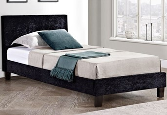 Berlin Fabric Bed - 3'0'' Single Black Crushed Velvet