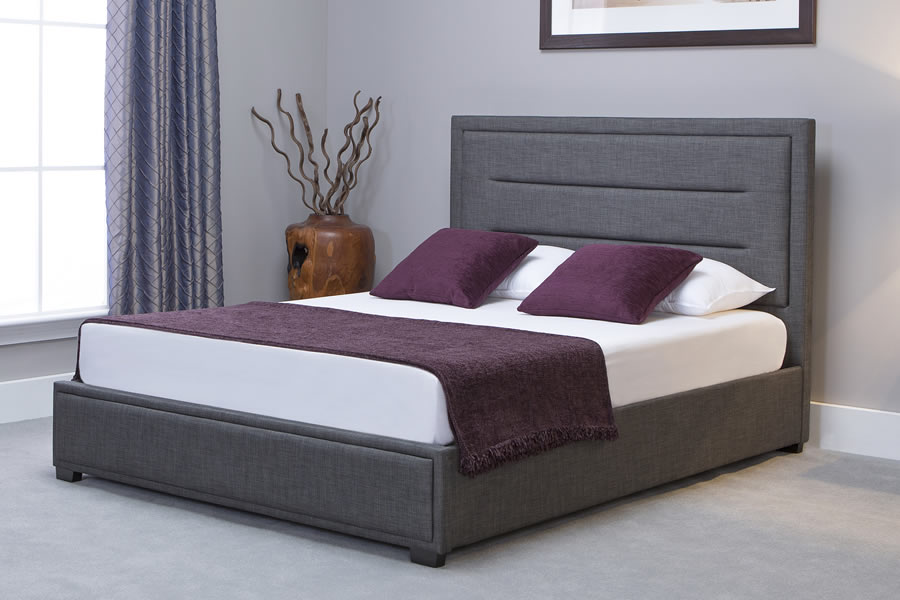 Grey Fabric Super King Size Ottoman Storage Bed Frame