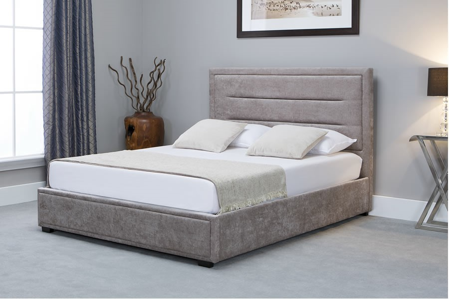 Stone Fabric Super King Size Ottoman Storage Bed Frame