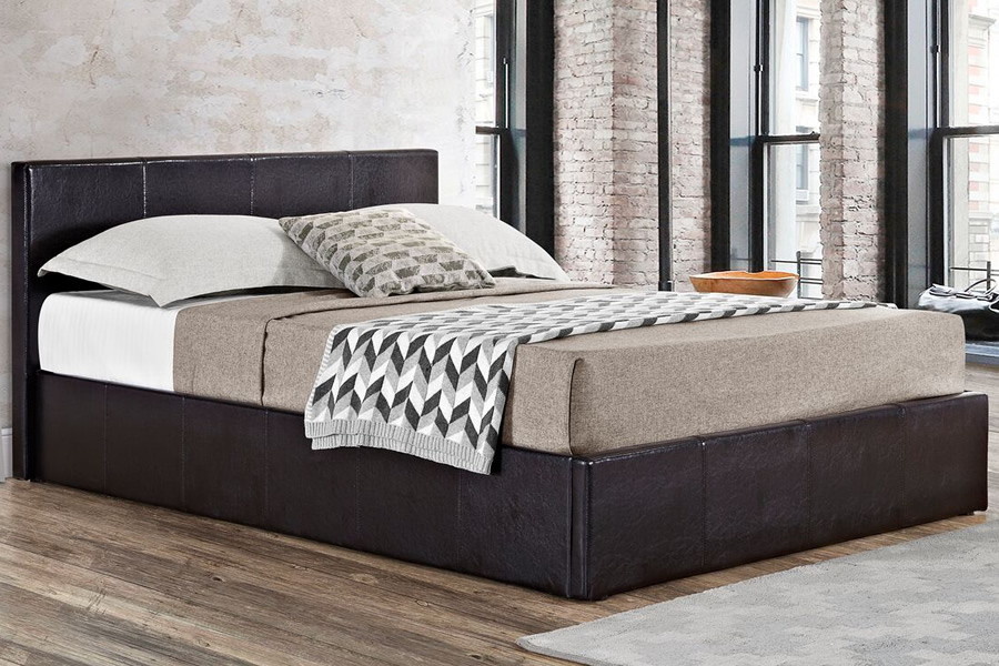 Berlin Faux Leather Ottoman Storage Bed, Black Leather Ottoman With Storage