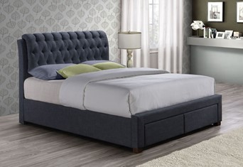 Valentino Fabric Bed - 4'6'' Double Charcoal