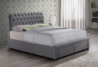 Valentino Fabric Bed - 4'6'' Double Grey