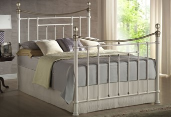 Bronte Metal Bed - 4'6'' Double Cream