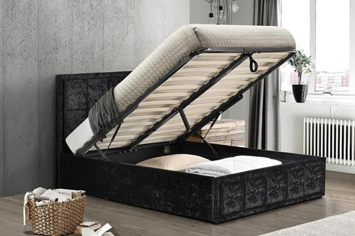 Grey Fabric Small Double Ottoman Storage Bed Frame Hannover
