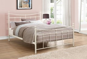 Emily Metal Bed - 4'0'' Small Double Cream