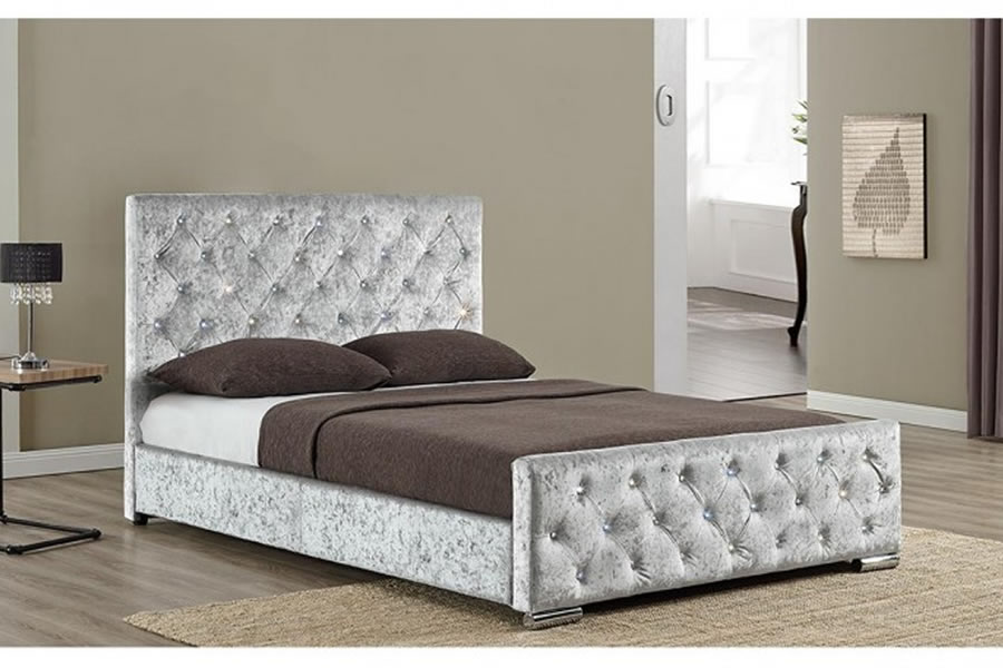 Silver Velvet Fabric Double Bed Frame Tall Headboard Beaumont