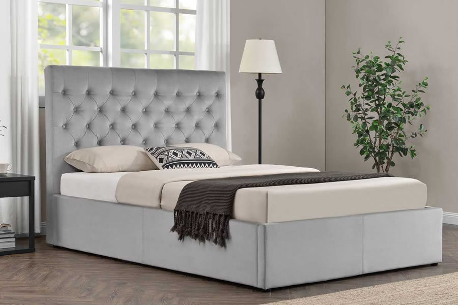adb25bd9e76c Grey Fabric Buttoned Double Ottoman Storage Bed Frame - Eltham