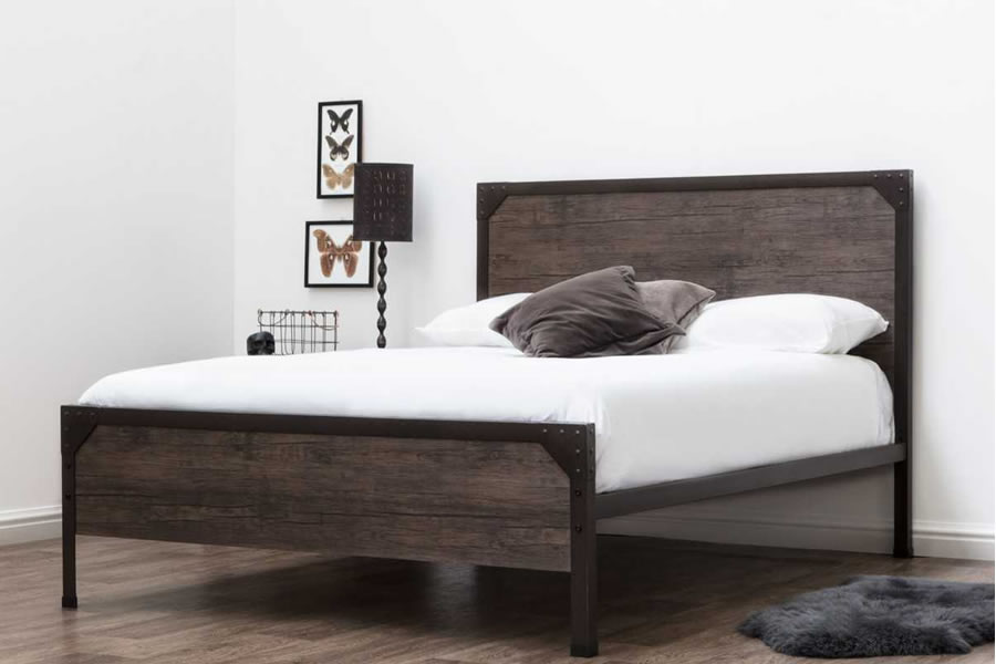 Brown Metal Amp Dark Wood Panelling King Size Bed Frame