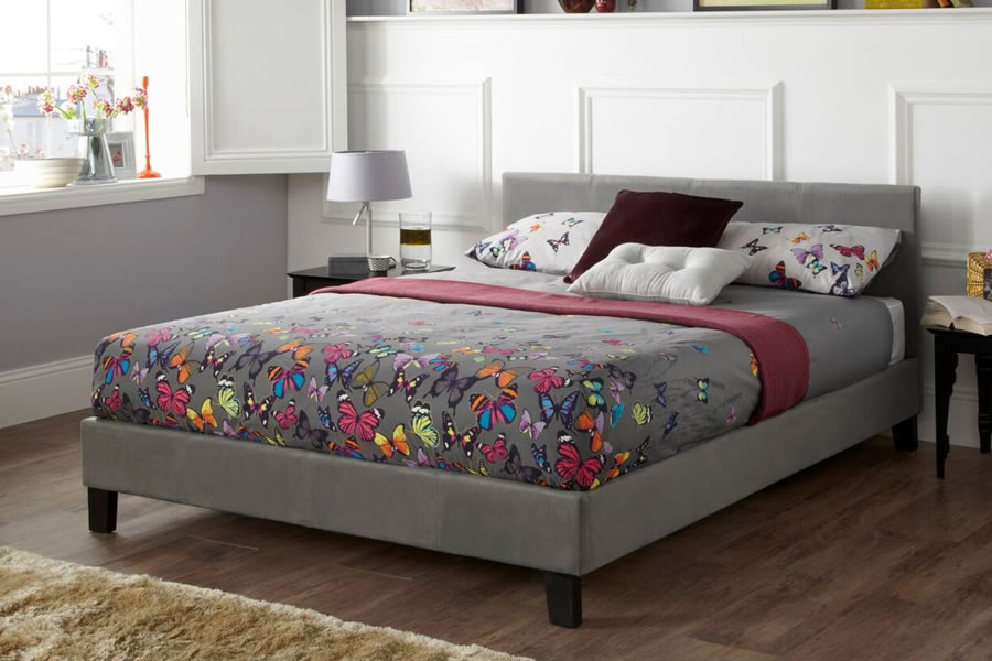 promo code 91ae3 5a6c0 Steel Fabric Short Headboard Small Double Bed Frame - Evelyn