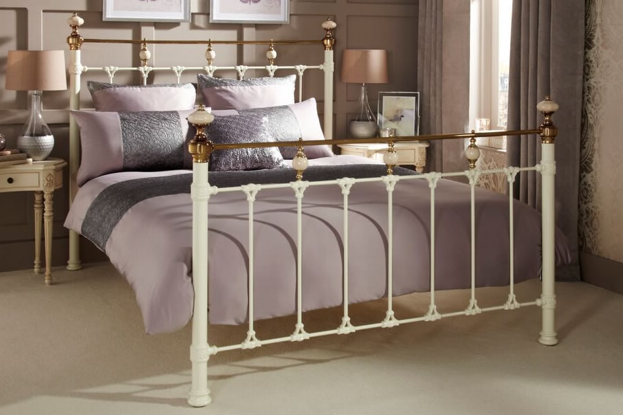 451f921b6578 Ivory Double 4'6'' Metal Bed Frame - Abigail