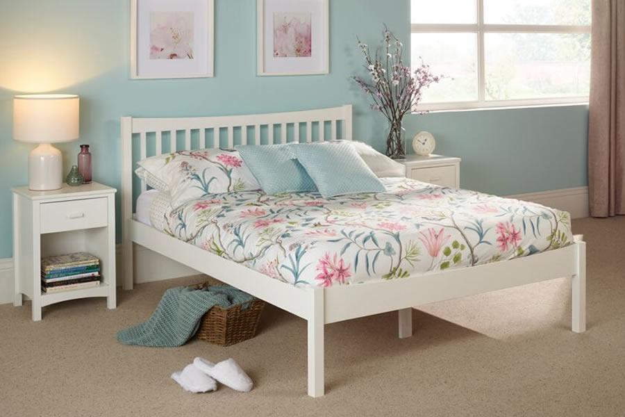 Shaker Style White Wooden Single Bed Frame Alice