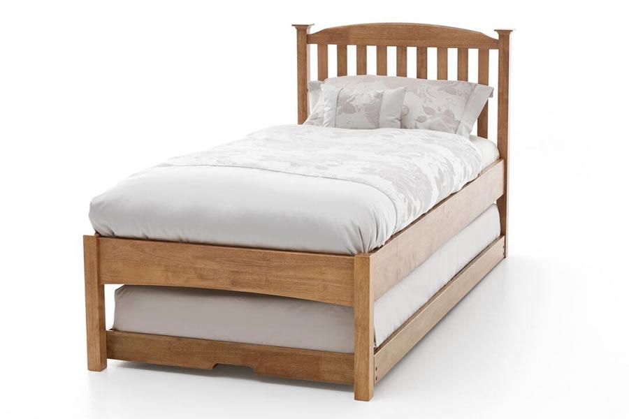 3 0 Single Honey Oak Wooden Guest Bed Slatted Headend
