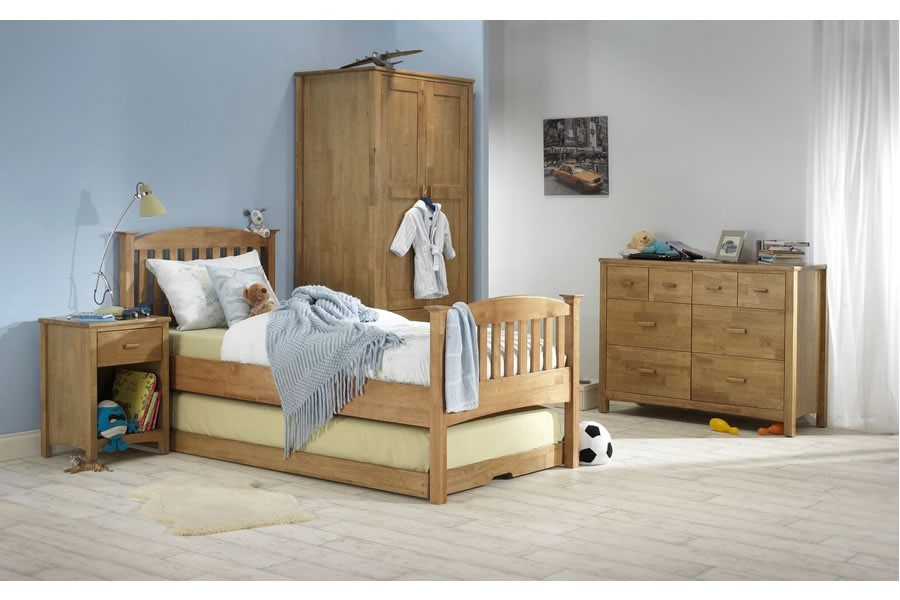 3 0 Quot Single High Wooden Guest Trundle Bed Frame Honey