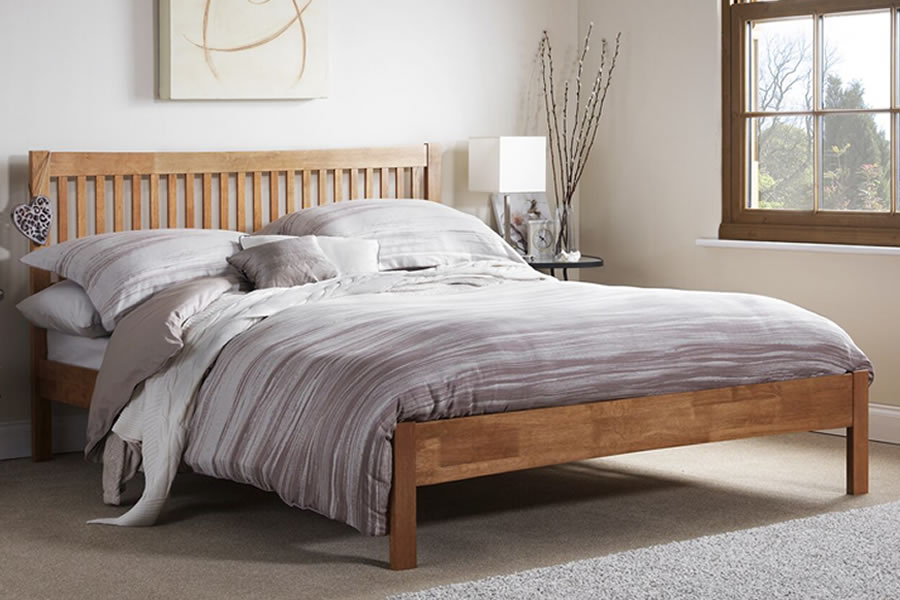 Honey Oak Wooden Small Double Bed Frame Slatted Head Mya