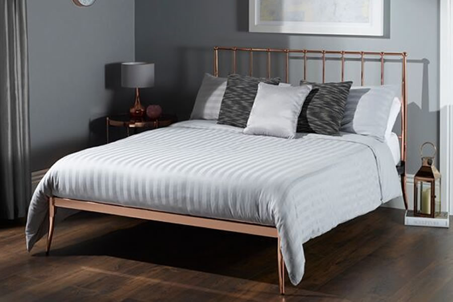 huge discount 48fb5 ad7c9 Rose Gold Metal Double Double Bed Frame - Saturn