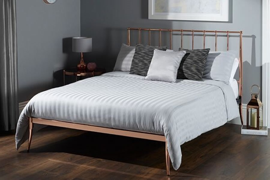 Rose Gold Metal Single Double Bed Frame Saturn