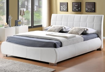 Dorado Leather Bedframe - 4'6'' Double White