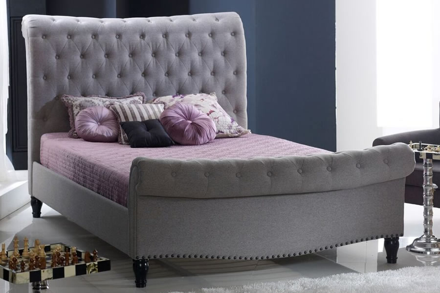 Double Grey Fabric Sleigh Bed Frame Tall Buttoned Headboard Larrisa