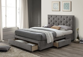 Monet Fabric Storage Bed - 4'6  Double Grey