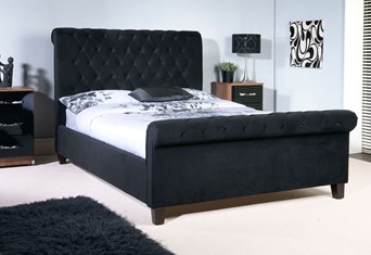 Orbit Fabric Bedframe - 4'6'' Double Black