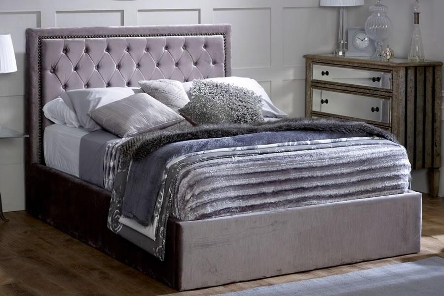 Mink Crushed Velvet Super King Size Ottoman Bed Frame Rhea