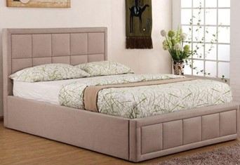 "Sia Ottoman Bed Frame - 3'0"" Single Dark Tan"
