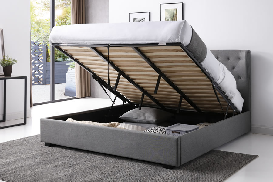 Venice Buttoned Grey Fabric Ottoman Bed Frame