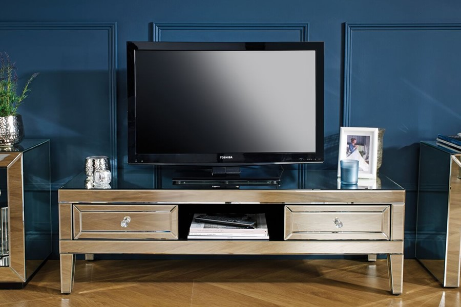 Mirrored 2 Drawer Tv Cabinet W 1250mm Valencia Range