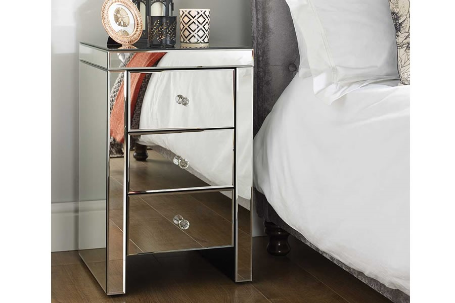 Mirrored 3 Drawer Bedside Chest Crystal Handles Seville