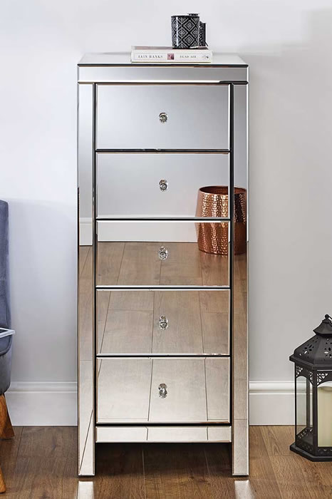 Mirrored Tall 5 Drawer Narrow Chest Crystal Handles