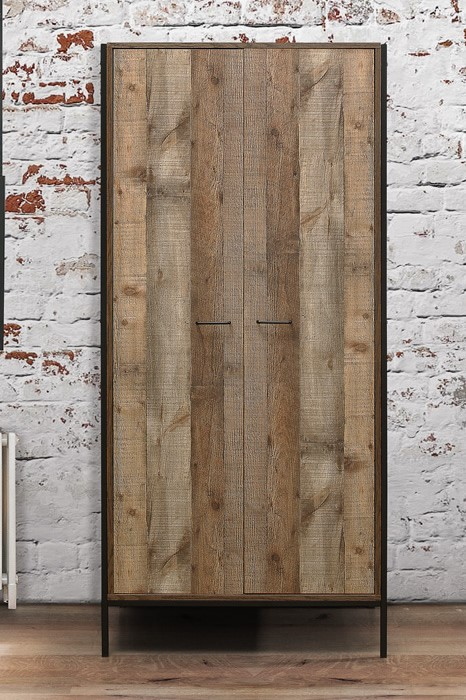 Industrial Style Two Door Wardrobe Reclaimed Timber