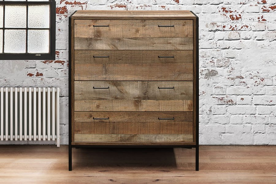 Urban Four Drawer Chest Industrial Chic Finish