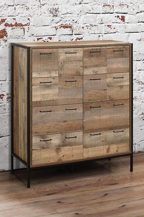 Oak Finish Industrial Style 8 Drawer Chest Steel Frame