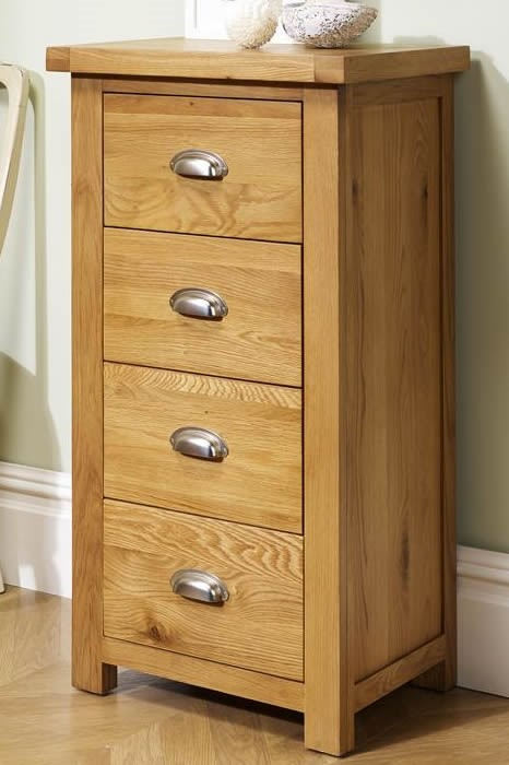 Solid Oak 4 Drawer Narrow Chest Metal Cup Handles
