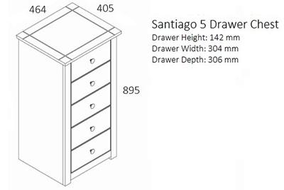 Santiago 5 Drawer Chest
