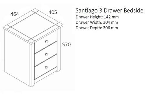 Santiago 3 Drawer Bedside