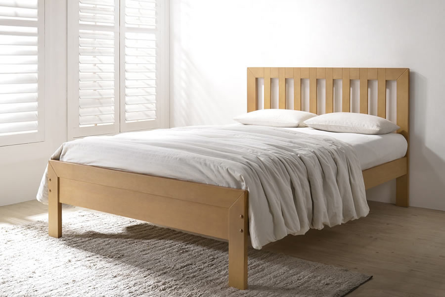 Double Sturdy Oak Finish Wooden Bed Frame Knutsford