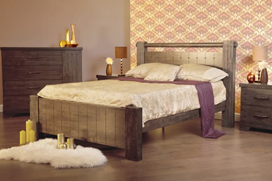 Rustic Dark Stained Wooden King Size Bed Frame Churchill