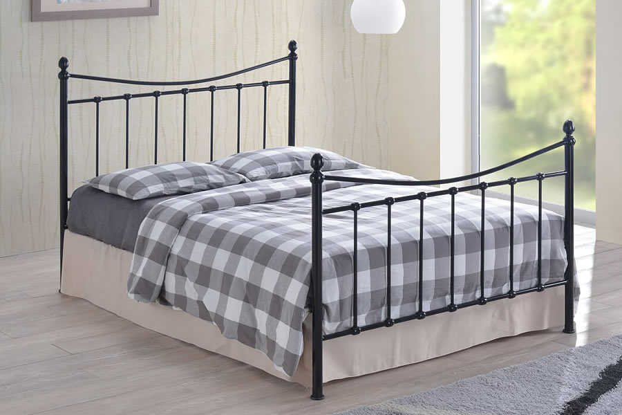 Black Metal Small Double Victorian Bed Frame With