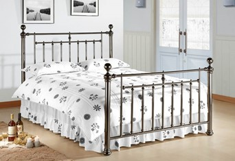 Alexander Metal Bed Frame - 4'6'' Double Black Nickel Black/Nickel
