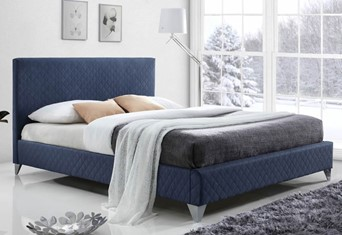 Brooklyn Fabric Bed - 4'6'' Double Blue
