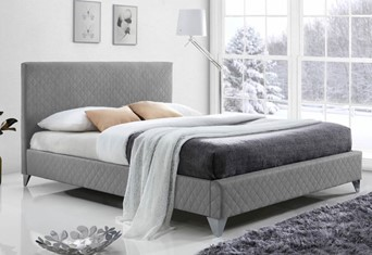 Brooklyn Fabric Bed - 4'6'' Double Grey