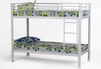 Boltless Metal Bunk Bed - White