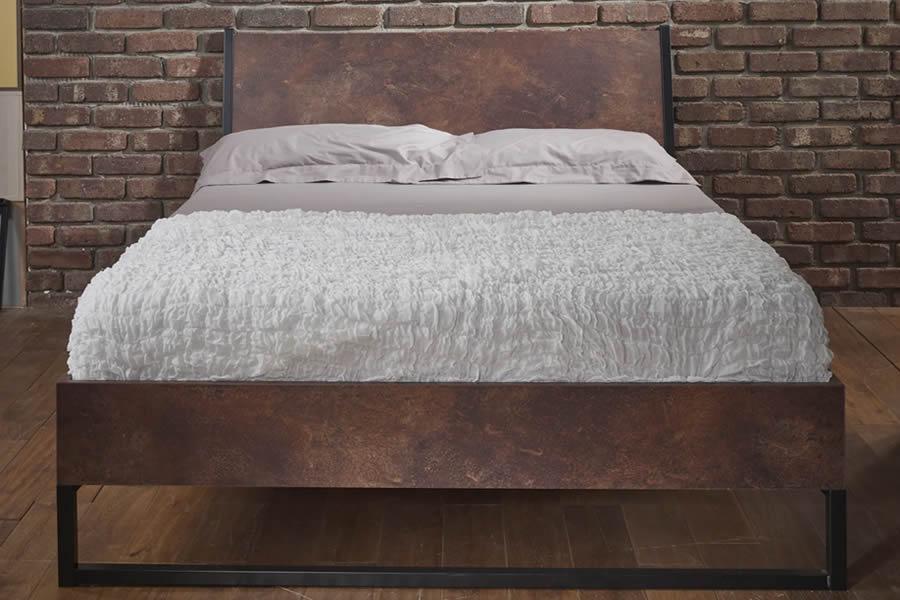 Double Diego Urban Design Copper Colour Steel Wooden Bedframe