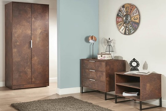 Diego Copper 2 Drawer Wardrobe
