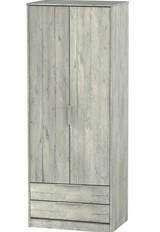 Diego Concrete 2 Drawer Wardrobe