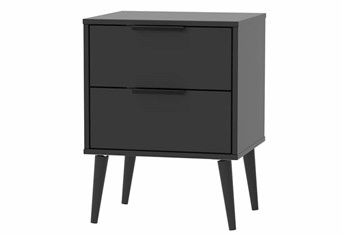 Hong Kong 2 Drawer Locker - Matt Black Wooden Leg