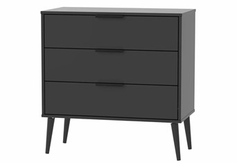 Hong Kong 3 Drawer Chest - Matt Black Wooden Leg